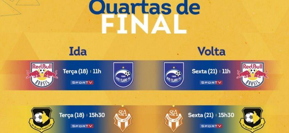 Quartas de finais A2: Red Bull Brasil enfrenta Rio Claro na terça, às 11h em Bragança Paulista. Atibaia joga contra o São Bernardo.